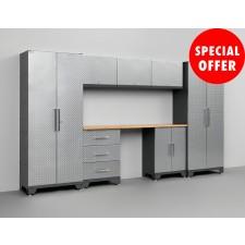 NewAge Performance Series Diamond Silver 8 Piece Garage Cabinet Set - N51055