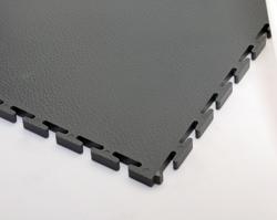 Tightly interlocking garage floor tile in dark grey