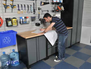 NewAge garage cabinets with worktop