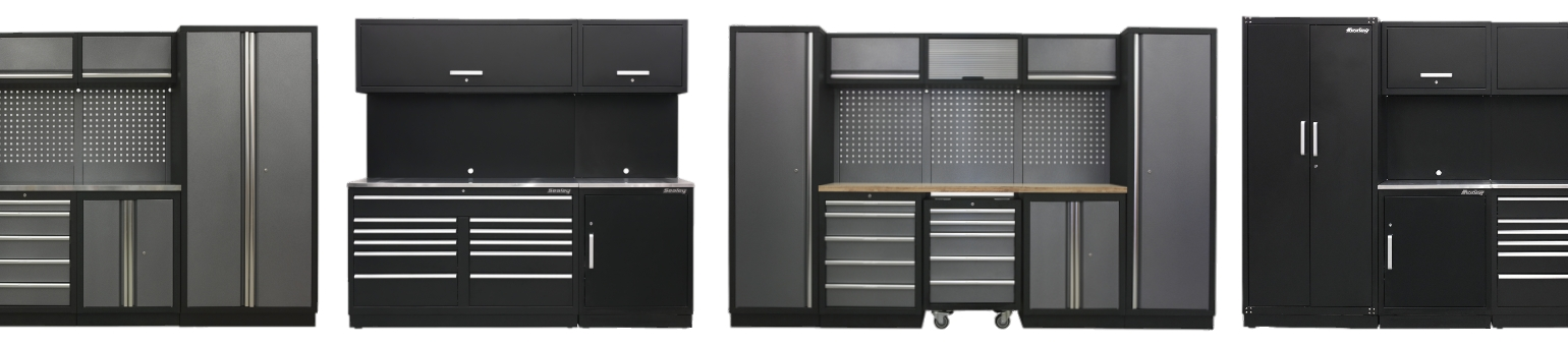Several sets of Sealey modular cabinets - Premier and Superline Pro.