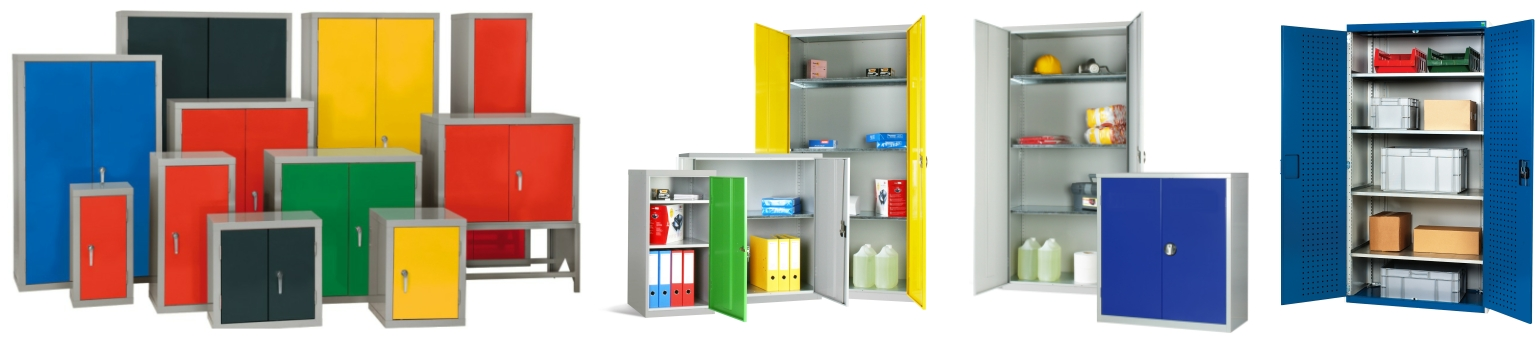 Different steel cupboards lined up showing shelves for storage inside. Various cupboard colours are shown.