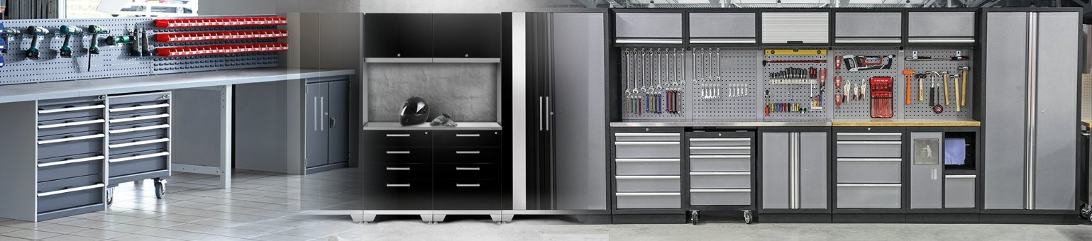 Black and grey cupboards with lots of tool storage hooks on back panels