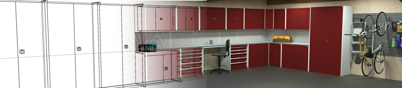 The design of a garage interior showing red fronted Bott cabinets fading into the CAD drawing.