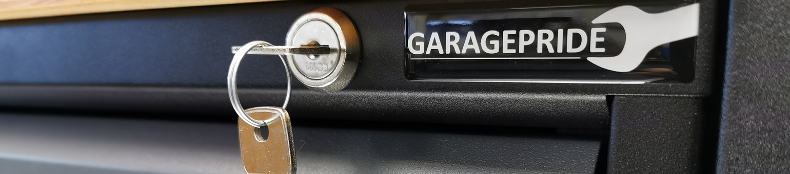 Close up of garage cabinet lock and GaragePride logo