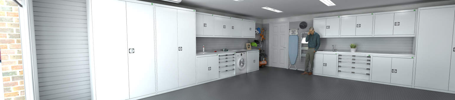 A garage fitted with grey and red storage cabinets, slat-wall panels and PVC tiles