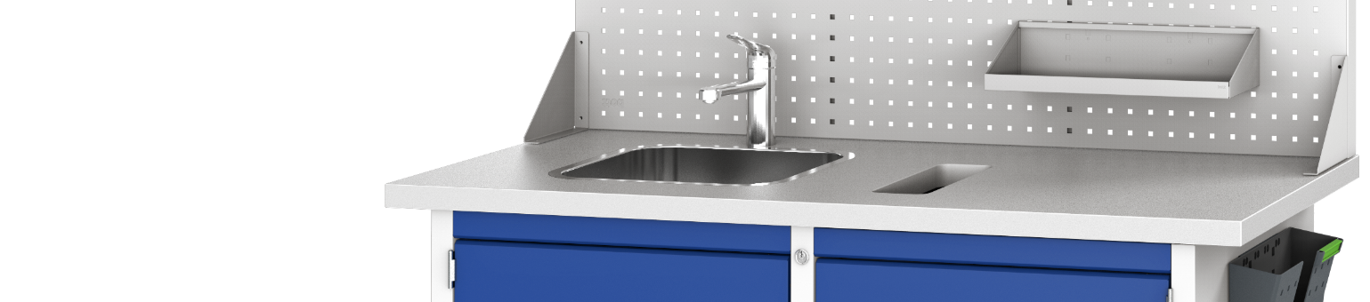 A light grey and blue hand sanitation workstation with sink, tap and cupboard