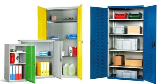 General storage cupboards in different colours with doors open showing the shelves inside.