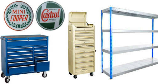 Accessories for a home garage such as shelves, tool boxes and storage.