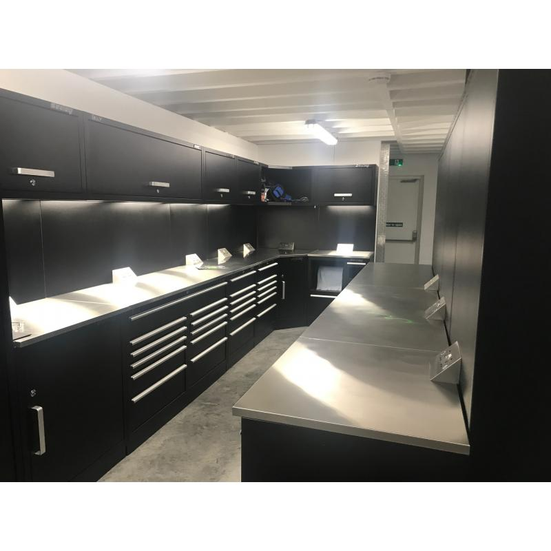 A customer's brilliant layout of our Sealey Premier cabinets. With a corner arrangement, stainless steel worktops and his own lighting.