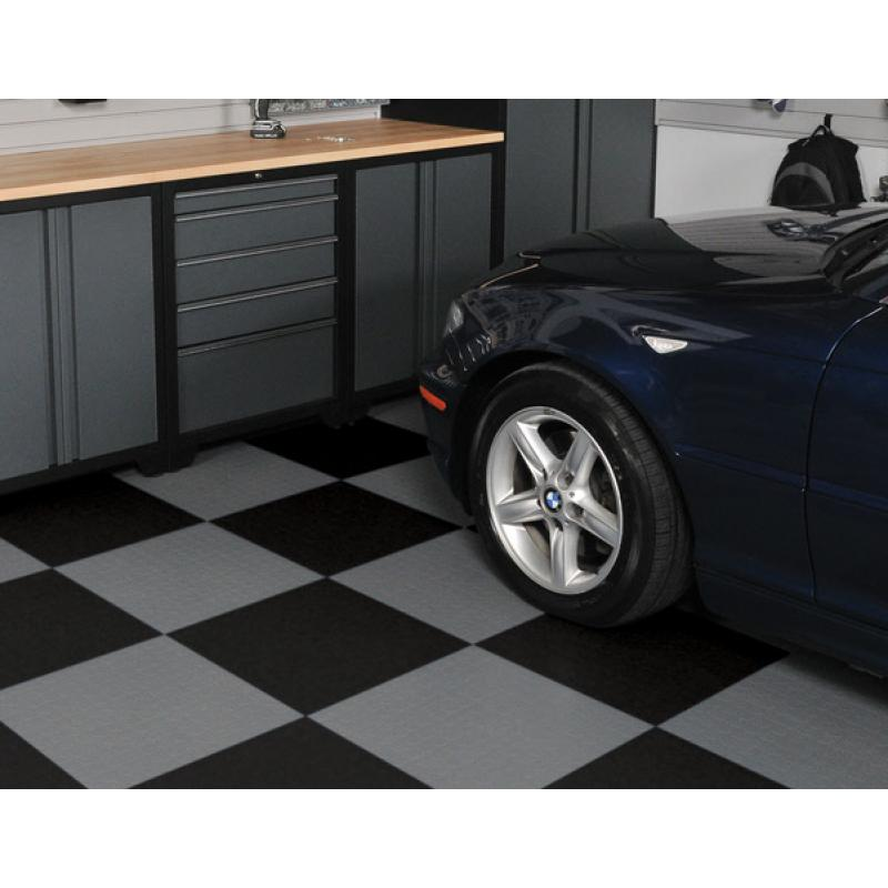 Pro Series cabinets with chequer pattern interlocking floor tiles.