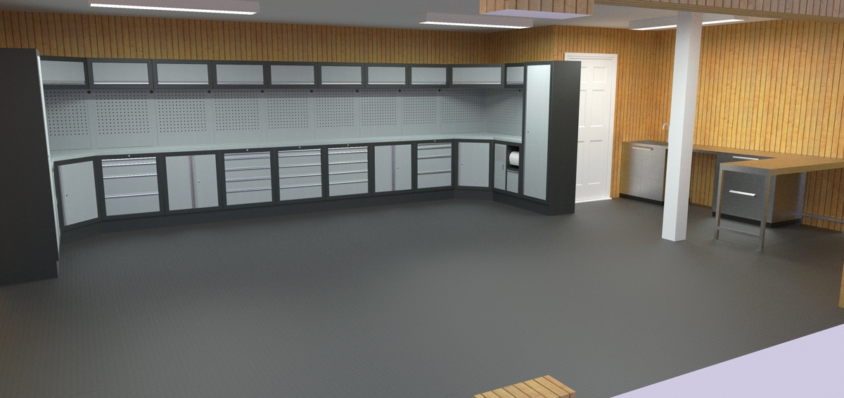 A Garage Interior Design Proposal Completed. Sealey Superline Pro Including  Two Corner Arrangements. Stainless