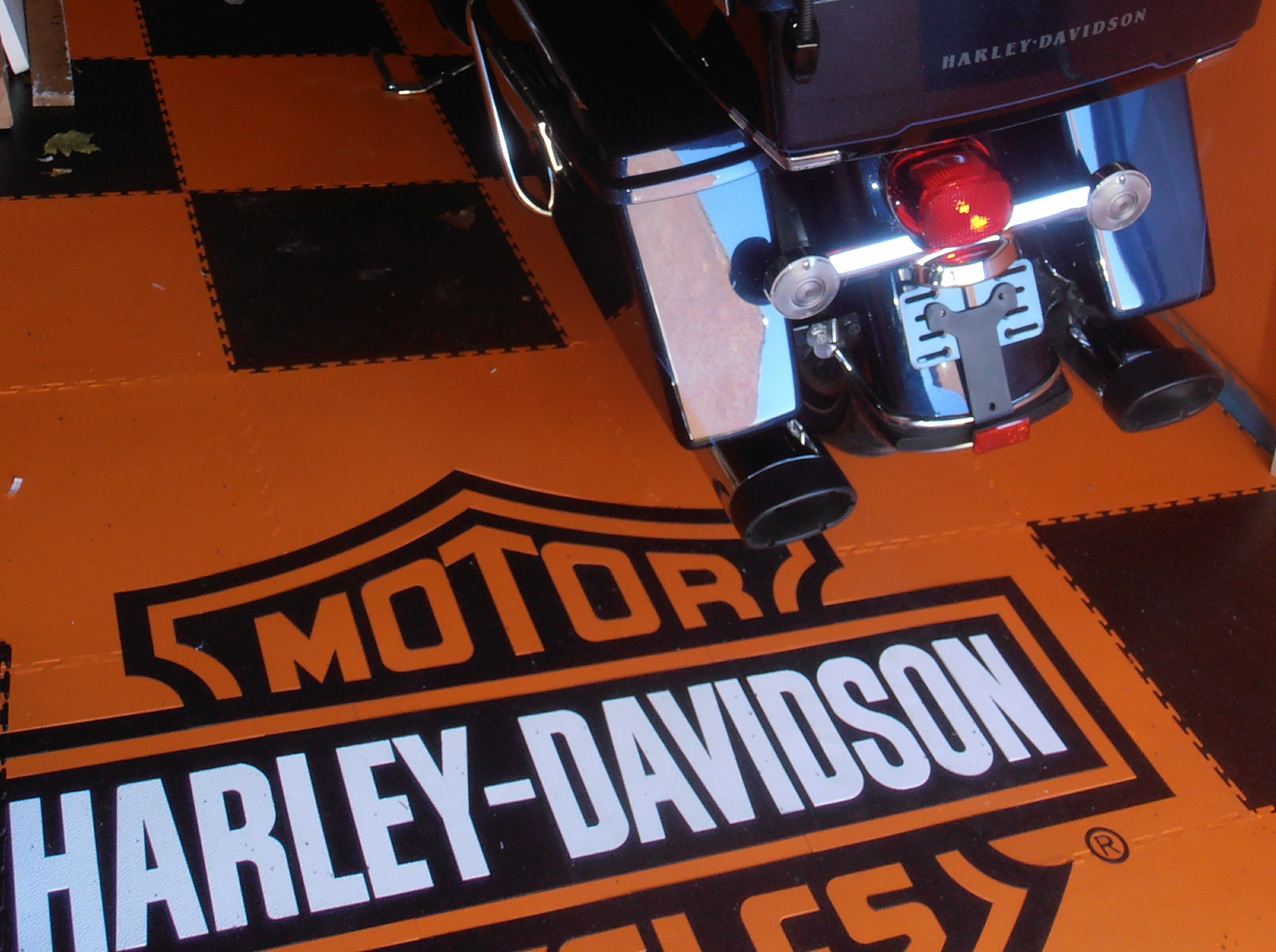 Special order - orange tiles and Harley Davidson logo. We can print any logo given a suitable image or design