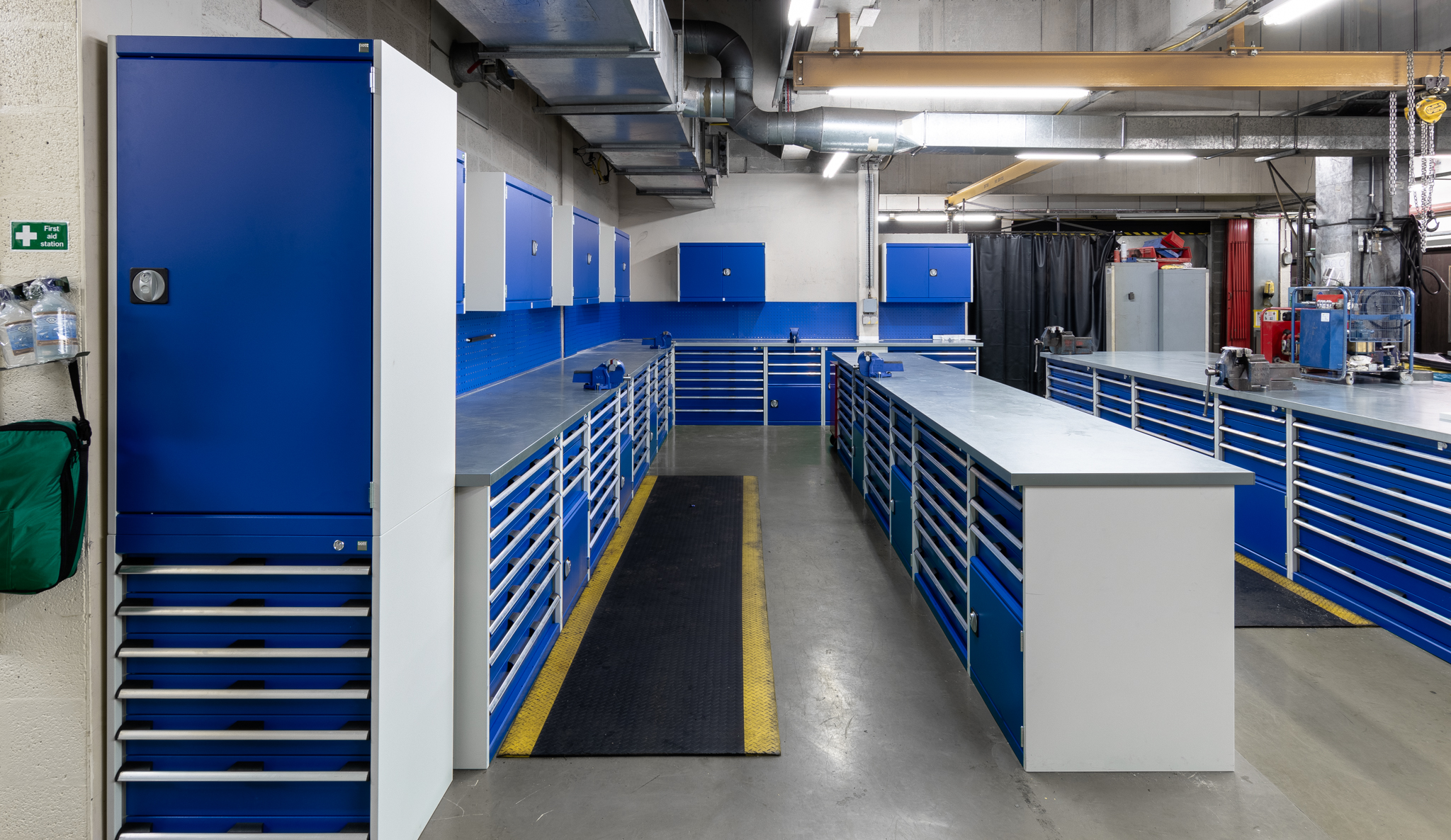 Our most recent large commercial contract. Bott Cubio cabinets designed, supplied and fitted in association with Bott. This is ENGIE's power station workshop in Wales.