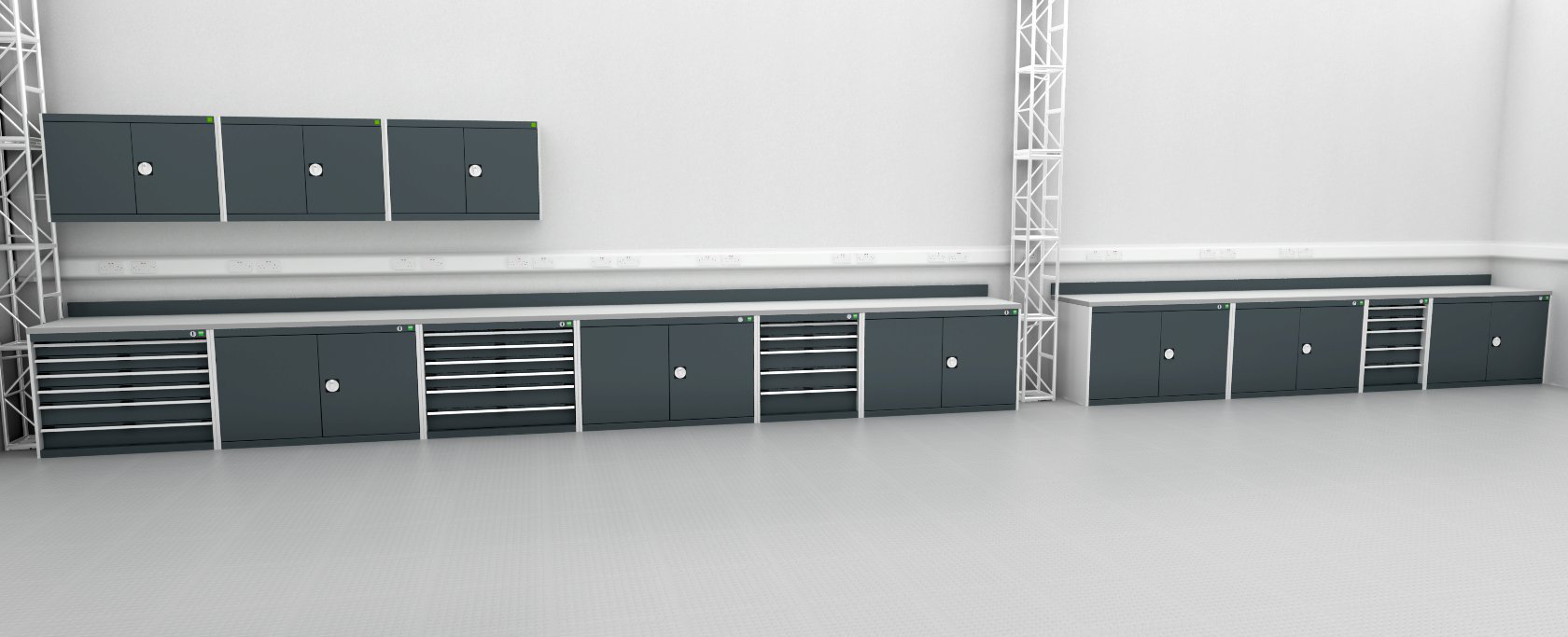 This is the rendered cabinet layout design that we produced for Oxbotica. It fitted perfectly upon delivery.