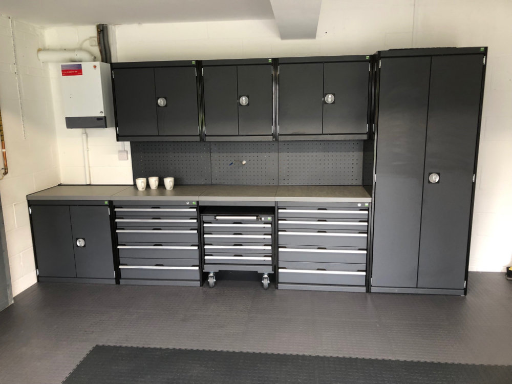 A customer's Bott Cubio cabinets powder coated in anthracite with mobile cabinet beneath. A nice installation celebrated with three cups of tea. Raised disk tiles with a graphite area in the centre.