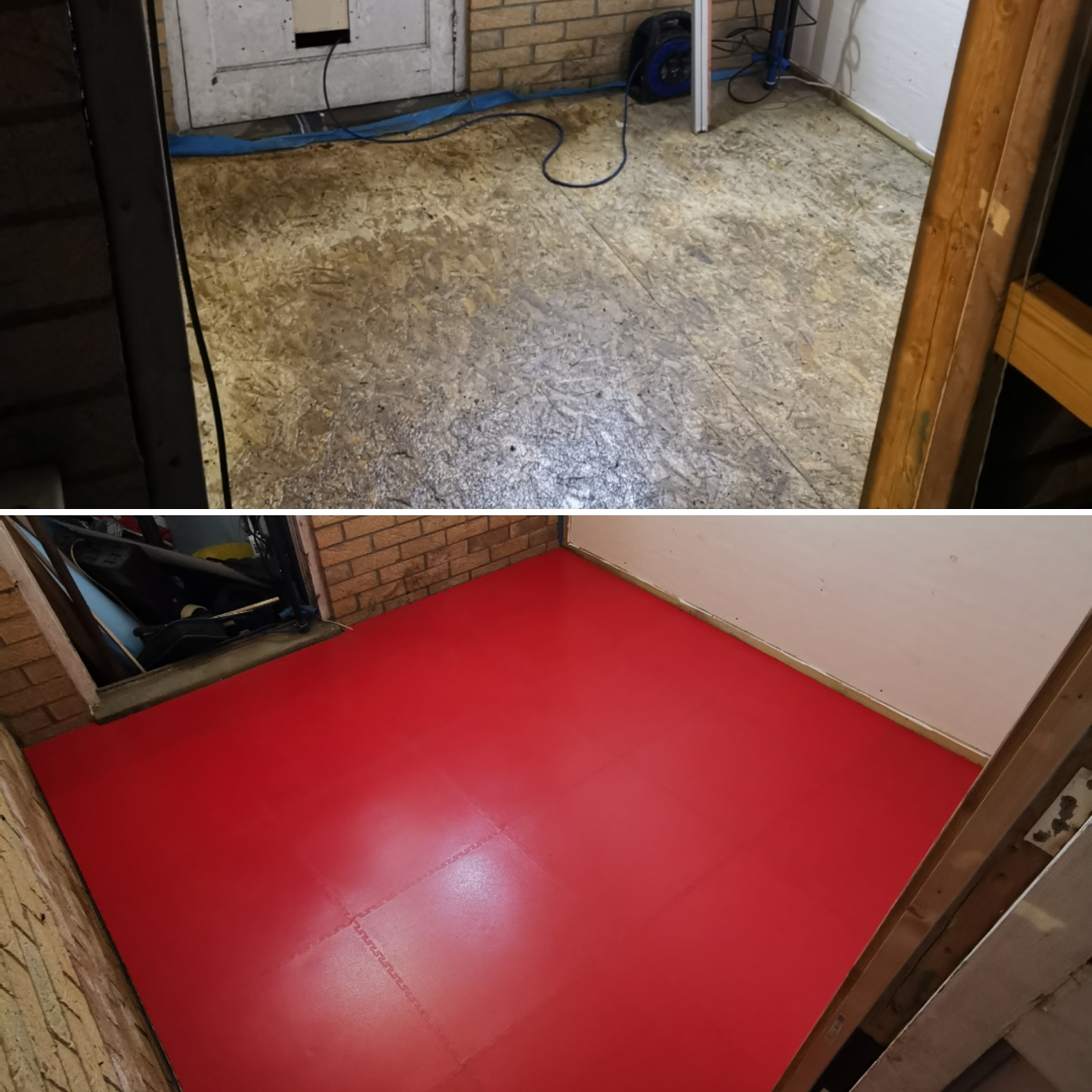 Another garage floor transformed last weekend. Our customer @fto_pete provided the before and after pictures and intends to dismantle a classic car engine on a dolly here. The floor tiles will make it a much more pleasant environment to work in.