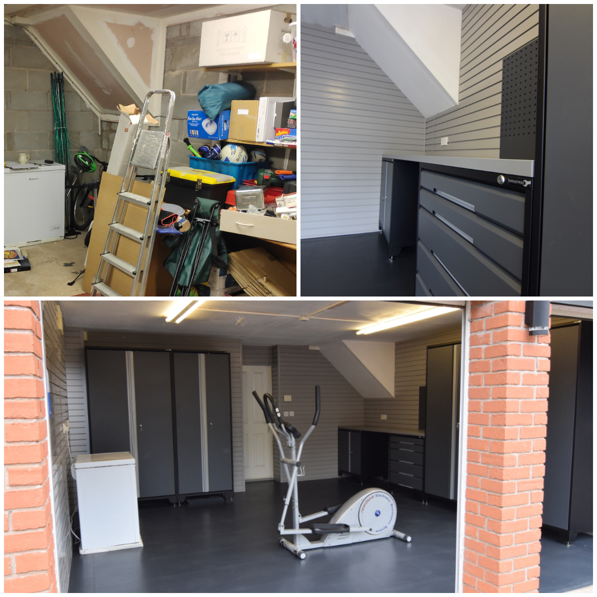 How many garages look like that top left? We transformed this customer's garage with full StorePanel cladding, EvoLine cabinets and 7mm thick PVC floor tiles. It's now a useful, attractive and welcoming environment with everything in its place.