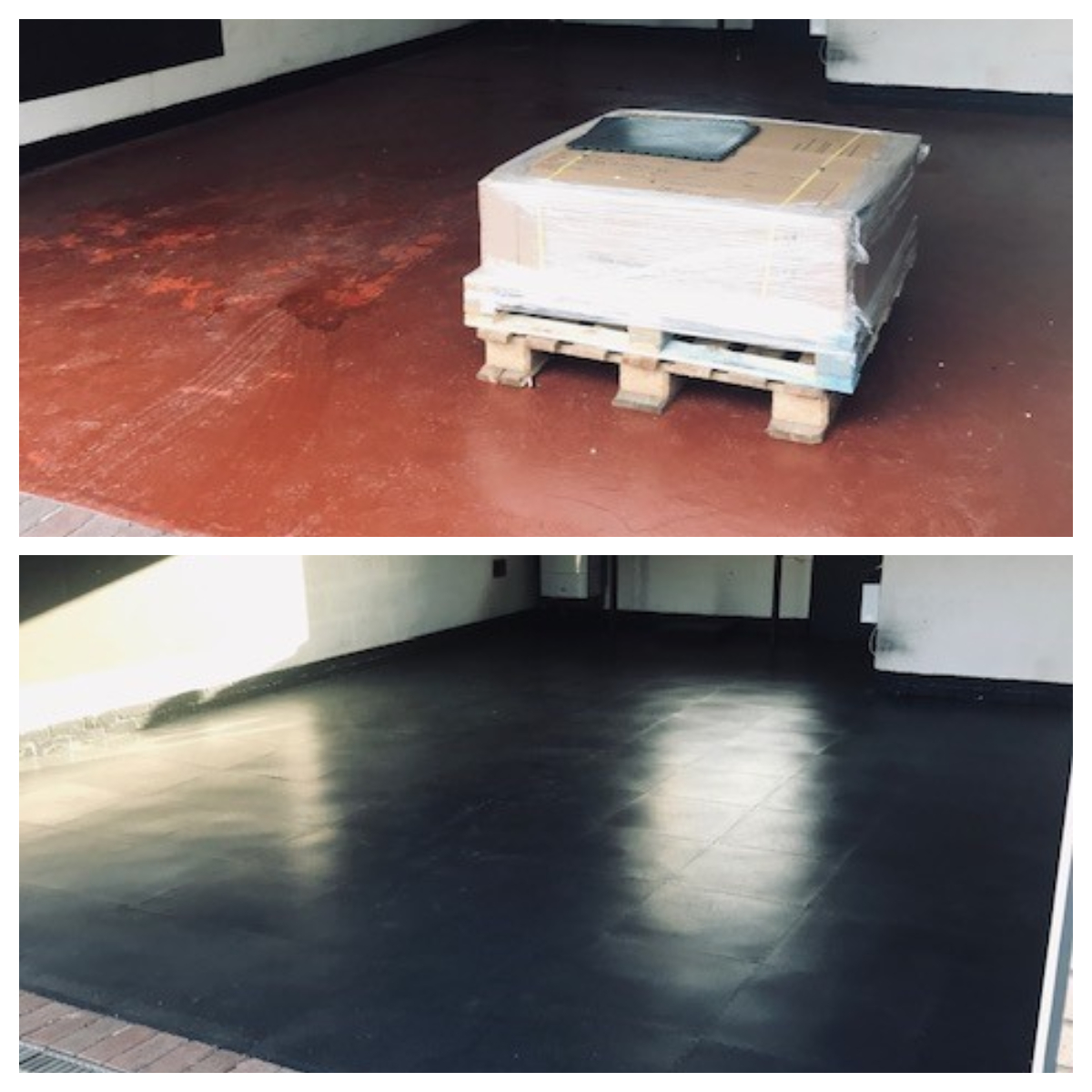 As with many customers, this floor had been looked after by painting - time and time again.  But now he has laid a lifetime solution in a matter of hours. Our PVC interlocking tiles, EvoTile.
