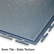 Garage Floor Tiles, 6mm Thick PVC, Graphite - Concealed Joint Slate Texture