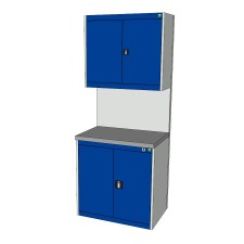 Bott Cubio 800mm Wide Free-Standing Cupboard Assembly with Overhead Cabinet
