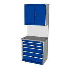 Bott Cubio 800mm Wide Free-Standing Drawer Assembly with Overhead Cabinet