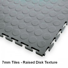 Garage Floor Tiles, 7mm Thick PVC - Raised Disk Texture