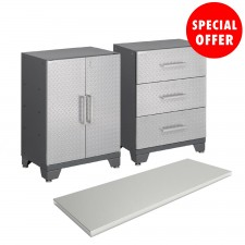 NewAge Performance Series Diamond Silver 3 Piece Garage Cabinet Set - N51333
