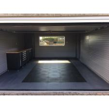 Double garage after fitting. Storewall panels, NewAge cabinets and floor tiles