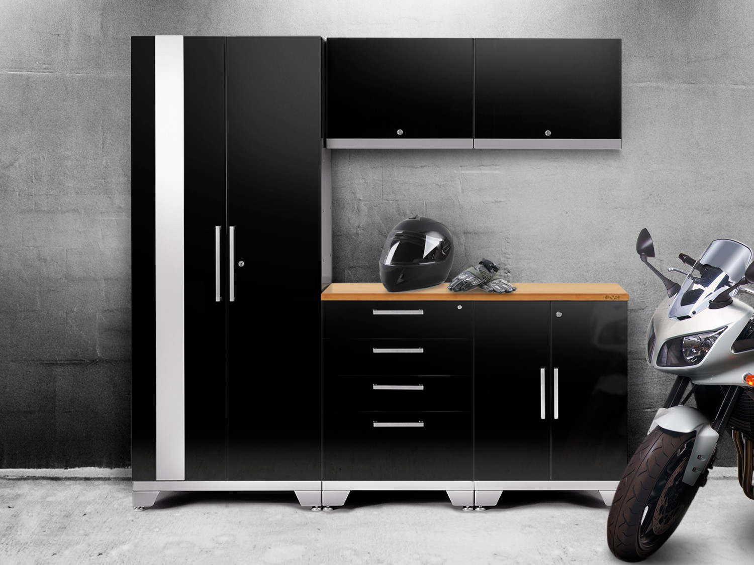 NewAge Performance black garage cabinets with motorcycle