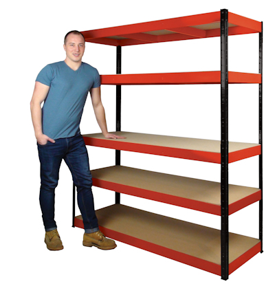 Tall garage racking unit with 5 shelves and man standing nearby