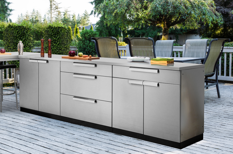 Outdoor kitchen cabinets in stainless steel