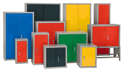A group of storage cabinets various colours