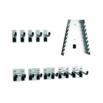 Eleven piece tool hook kit for perforated panels