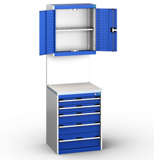 Bott Cubio 650mm Wide Free-Standing Drawer Assembly with Overhead Cabinet