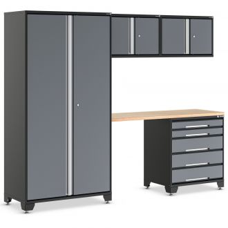 EVOline garage racking set in black and grey with drawers and seating gap.