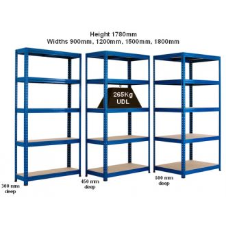 265kg UDL Industrial Shelving Units - Various Widths