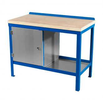 A strong heavy duty workbench with wooden worktop. Frame in blue.