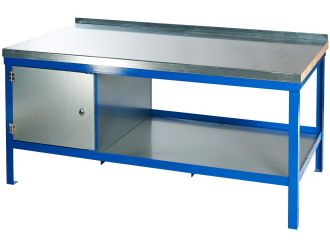 Workbench with steel worktop and blue frame