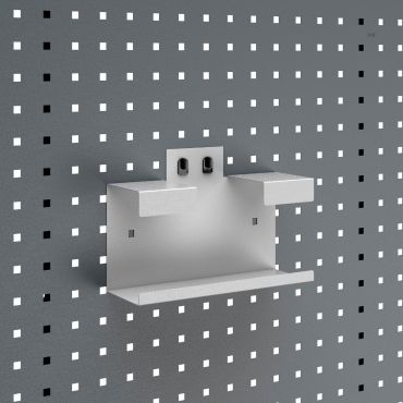 Glove box holder  for perforated panels