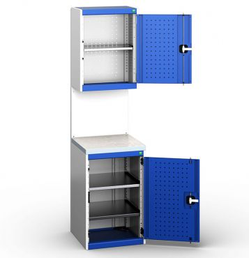 Bott Cubio 525mm Wide Free-Standing Cupboard Assembly with Overhead Cabinet