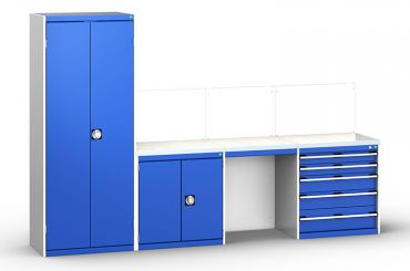 Bott Cubio workbench with cabinets in blue