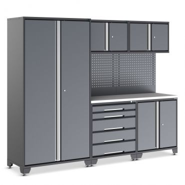 Garage cabinets in black and grey. EVOline with single drawer unit.