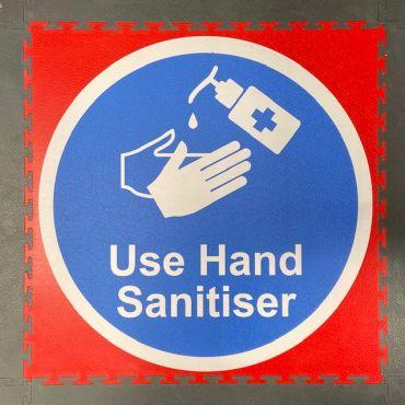 Printed hand sanitiser reminder floor tile
