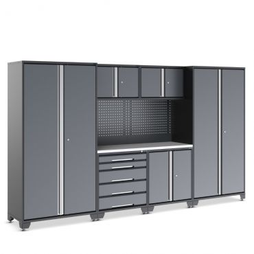 Black and grey garage cupboard and drawer unit with beech worktop