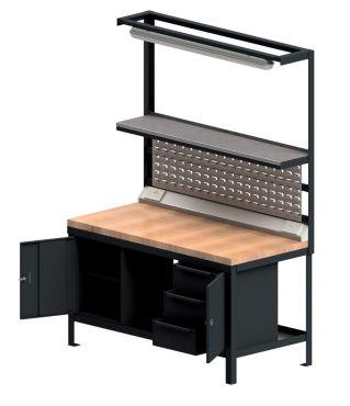 Heavy Duty Workstation With Wood Worktop