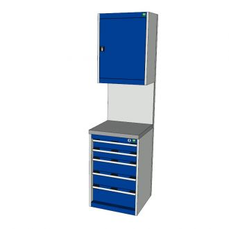 Bott Cubio 525mm Wide Free-Standing Drawer Assembly with Overhead Cabinet