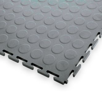 Garage Floor Tiles, 7mm Thick PVC - Raised Disk Texture