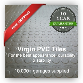 Garage flooring tiles in PVC showing a 10 years warranty label and free delivery