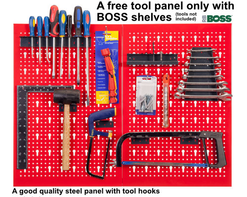 A free tool panel with BOSS garage shelves.