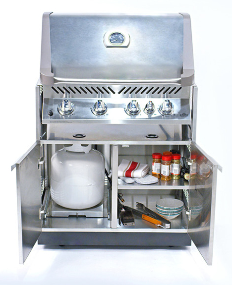 NewAge outdoor kitchen grill insert cabinet with Napoleon grill